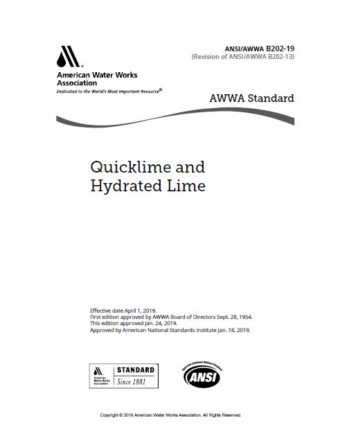AWWA B202 – Quicklime and Hydrated Lime