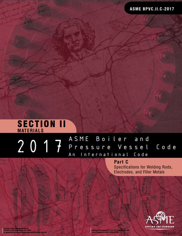 Asme bpvc iic specifications for welding rods electrodes and filler metals 2017 paper - Asme sec viii div 2 ...