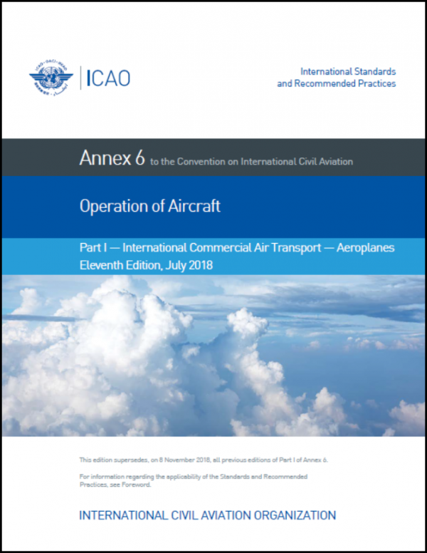 Operation of Aircraft, Part 1 – International Commercial Air Transport Aeroplanes